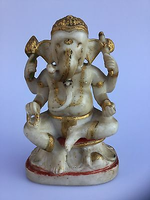 Indian Antique Hand Carved &painted Marble Hindu Figure Of Ganesh