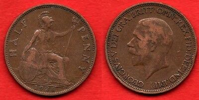 GREAT BRITAIN UK : 1/2 Half Penny 1928 King George V Nice Quality Coin