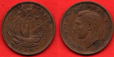 GREAT BRITAIN UK : 1/2 Half Penny 1938 King George VI Nice Quality Coin