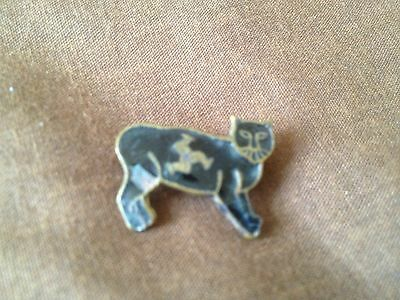 Isle Of Man Tt – Black Manx Cat – Old Metal/enamel Badge