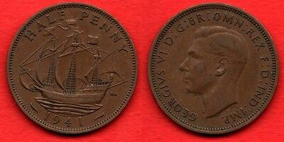 GREAT BRITAIN UK 2.: 1/2 Half Penny 1941 King George VI Nice Quality Coin