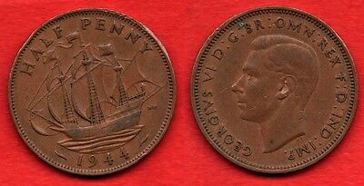 GREAT BRITAIN UK : 1/2 Half Penny 1944 King George VI Nice Quality Coin