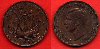 GREAT BRITAIN UK : 1/2 Half Penny 1945 King George VI Nice Quality Coin