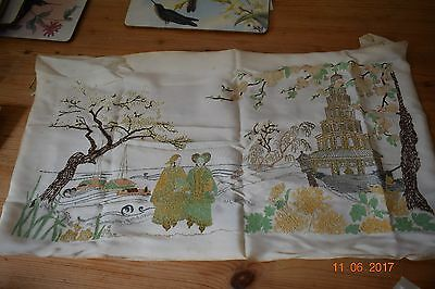 Antique Chinese  Painting On Silk With Gold Wire  Embroidery