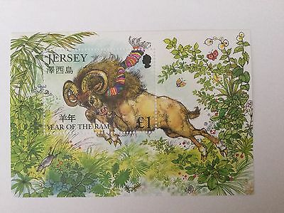 Jersey 2003.  Year Of The Ram Miniature Sheet. Mnh.