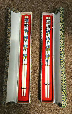 Chinese vintage 2 boxed pair of cloisonne chopsticks