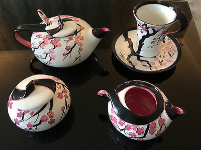 beautiful  pink and black Chinese tea set