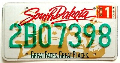 "South Dakota 2000 ""Great Face, Great Places"" License Plate, Mt Rushmore Graphic"