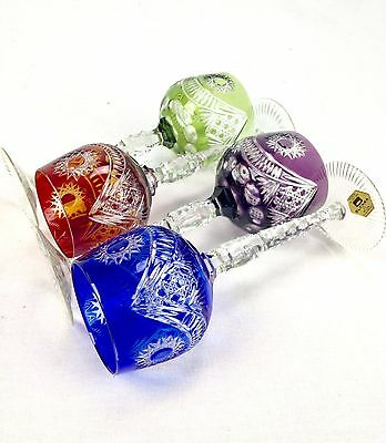 Colourful Hock Crystal Cut Glass Set - Blue, Red, Purple, Green