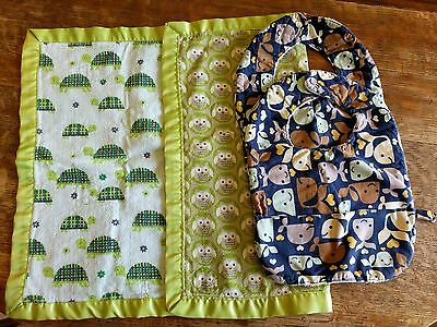 handmade double sided baby blanket and 2 bibs: owls Turtles, whales, cotton