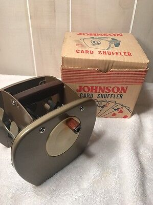 Card Shufflers Johnson Vintage Metal With Wood Handle Model #50 Box