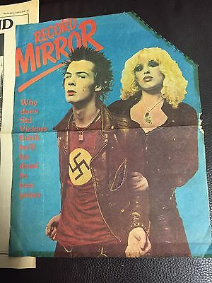 Very Rare Original 1978 Sid Vicious Record Mirror Cover & Article