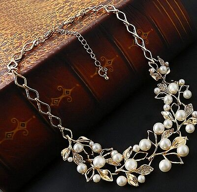 Fashion Vintage Women Crystal Chain Pendant Statement Collar Bib Pearl Necklace