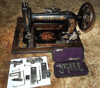 1880's Restored New Home Treadle Sewing Machine with Full Decals and Accessories