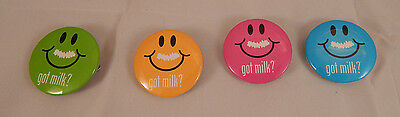 "4 Vintage ""Got Milk"" Buttons Pins -1 each of Green, Yellow, Pink & Blue - 1990's"