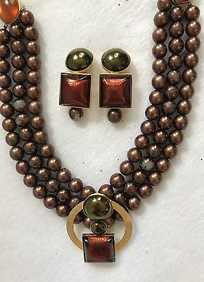 Vintage Philippe Ferrandis Signed Necklace With Clip Earrings