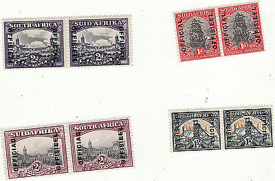 South Africa -  1930/40S Official Stamps 4 Mm Pairs