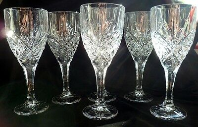 Cut Crystal Wine Glasses x 6: GALWAY: Boxed: Goblets: Tralee: Irish