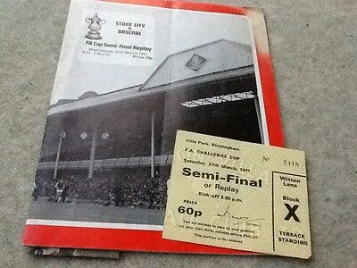 Stoke City v Arsenal. March 1971. includes photos and ticket