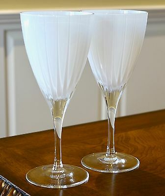FABERGE Blanc de Blanc Wine Water Glasses Goblets, Cased Crystal PAIR