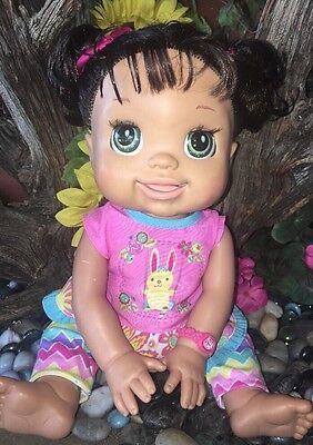 BABY ALIVE DOLL MY REAL BABY  Yellow Dress,Dark Hair, Soft Face Interactive