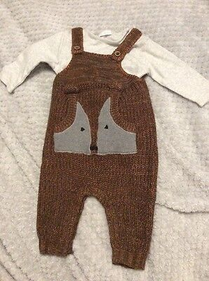 Next Baby Boy Knitted Fox Dungarees Size 3-6 Months With Vest - See Others Too