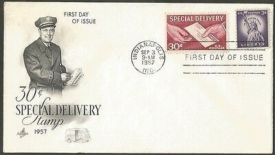 Us Fdc 1957 30C Special Delivery Stamp+Liberty 3C Ac First Day Of Issue Cover