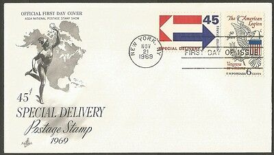 Us Fdc 1969 45C Special Delivery Stamp+Legion 6C Ac First Day Of Issue Cover