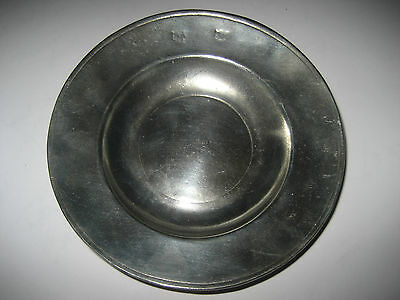 Antique / Vintage Small Pewter Plate, Side Plate or Pin, Trinket Dish.  4.5in.