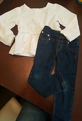 Girls 2-3 years jeans jeggings bunny blouse top tunic outfit summer clothes next