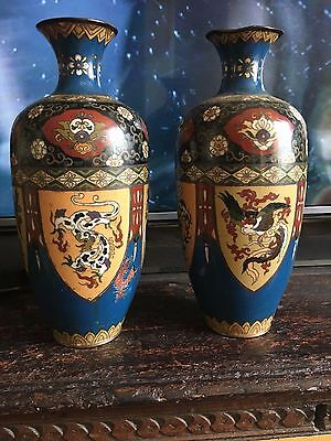 antique 19th centurty japanese cloisonne vases