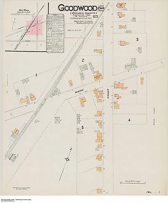 GOODWOOD ONTARIO Street And Building Map 1910 Main + Front