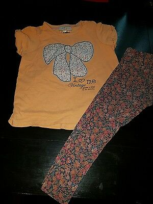 Girls 2-3 years berry leggings & t-shirt top M&S bow floral summer clothes next