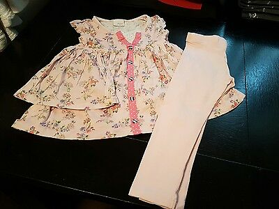 Girls 3-4 years Pale pink leggings & top tunic dress floral summer clothes next
