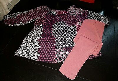 Girls 2-3 years leggings & blouse top tunic floral summer clothes next pink