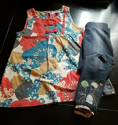 Girls 3-4 years mouse leggings & vest top tunic  floral summer clothes next rare