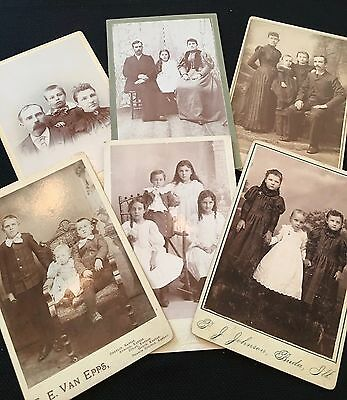 Vintage LOT Cabinet Card Photographs FAMILIES CHILDREN SIBLINGS BOYS GIRLS 1800s