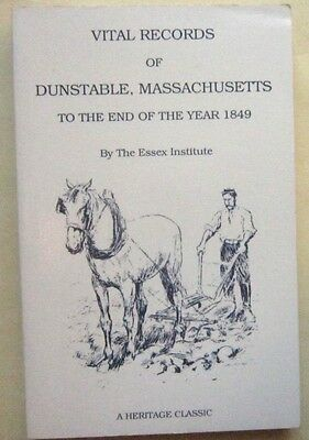 Dunstable MA Massachusetts Vital Records Birth Marriage Death Genealogy to 1849