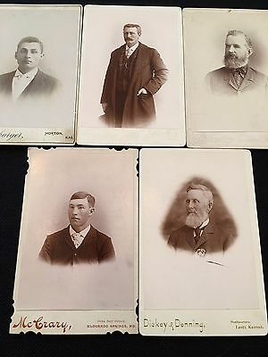 Vintage LOT Cabinet Card Photographs GENTLEMEN 1800s