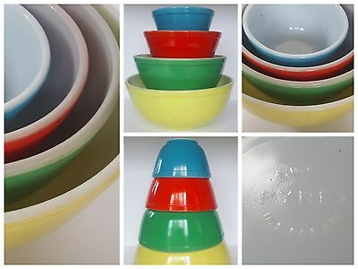 Vtg Pyrex Set Of 4 Primary Color Nesting Mixing Bowls~Early Series~U.s.a.