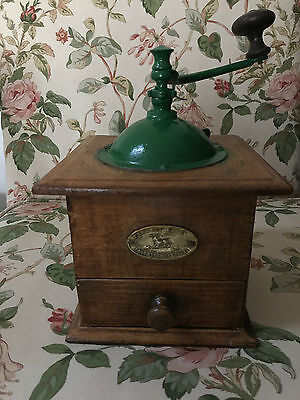 Unique Vintage French manual wood coffee grinder by Peugeot freres