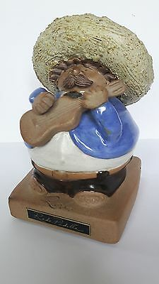Rodo Padilla Stoneware Sculpture Mexican Folk Art Mariachi Guitar Player