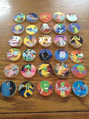 The Mask Milk Caps 1995 Complete Set + Spares 1995 Skips Crisps Pogs/Tazo