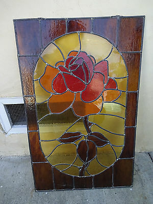 VTG Leaded Stained Glass Window 24 X 15 Inch~Red-Brown-Yellow~Textured Flower