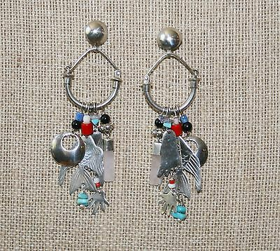 Vintage Sterling Silver Charms Earrings with Crystal, Fish, Hands & Feet!