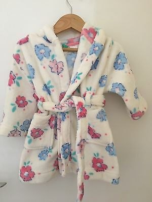 Baby girl's John Lewis Floral hooded dressing gown 6-9 mths