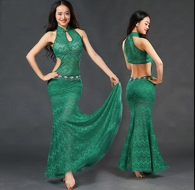 Green Oriental Belly Dance Dress, Small, New, Lace, Ships from US
