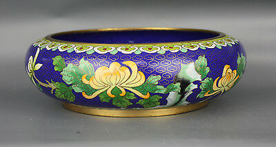 Cloisonne Asian Chinese Bowl Blue Brass Lotus 8 Inch Greens Yellows