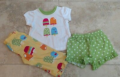 Carter's Baby Girl Size 18 Months Three Piece Pajama Set PJs Popsicle