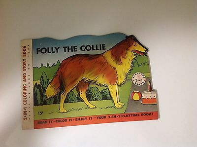 Folly The Collie 2-In-1 Coloring And Story Book 1953 Crenier * Playtime No. 4